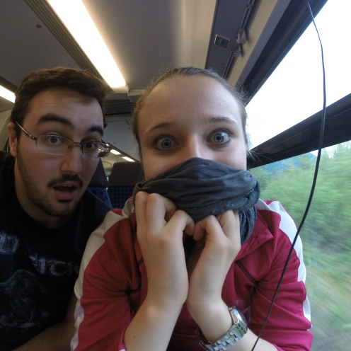 Goofing around in the train